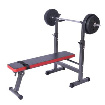 Folding Weight Bench Press and Barbell Rack Set for Home Gym