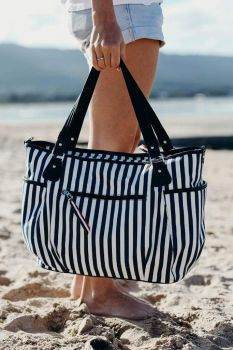 Family Beach Bag - Navy/White Stripe