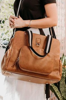 Faux Leather Tote Triple Compartment Nappy Bag - Tan