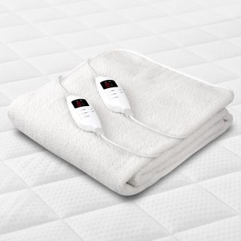 Electric Blanket Fleece Fleecy Fully Fitted Heated Underblanket Winter Warm Remote Control w/ Timer & Heat Settings Machine Washable Double Size Bed