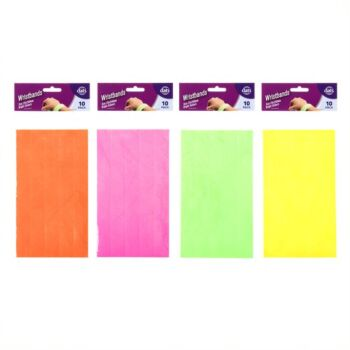 Wristband 25 x 250mm Assorted Coloursours 10 Pack