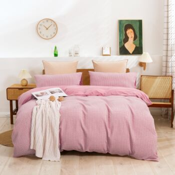 Dreamaker Reversible Cotton Waffle Jersey Knit Quilt Cover Set Double Bed Blush