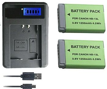 High Capacity Battery Charger for Canon NB-13L PowerShot G7 X Mark II, G9 X Mark
