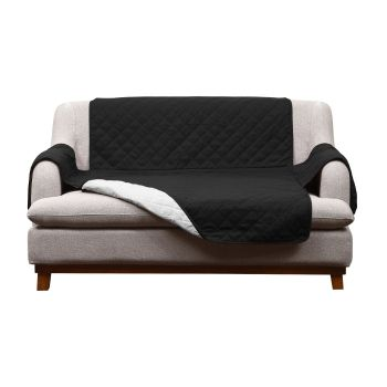 2 Seater Couch Sofa Cover Removable Quilted Slipcover Protector in Black