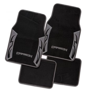 Carbon Grey Carpet Car Floor Mats Universal Fit