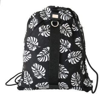 Dolce & Gabbana Black Palm Leaves Adjustable Drawstring Nap Sack Bag