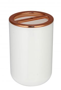 PS TOOTHBRUSH HOLDER WITH ROSE GOLD LID 2 ASST 7.2X7.2X10.7CM
