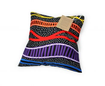 Cushion Aboriginal Design - Gudhu Galba (Rainbow River) - Jedess Hudson
