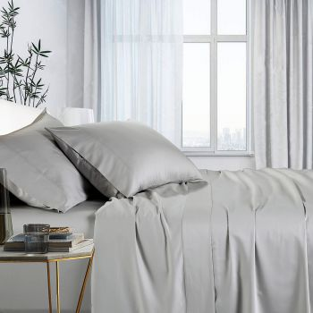 Single Bed 1000TC Bamboo Cotton Bed Sheet Sets in Silver