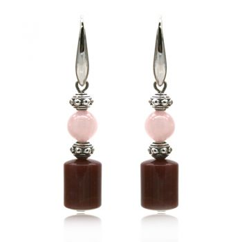 Natural Round Rose Quartz & Agate Ethnic Inspired Drop Earrings