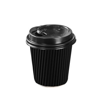 Disposable Takeaway Coffee Cups With Lids Black 50pcs 8oz