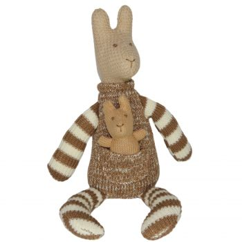 Plush Toy Kangaroo & Baby Joey - Brown/White Stripes