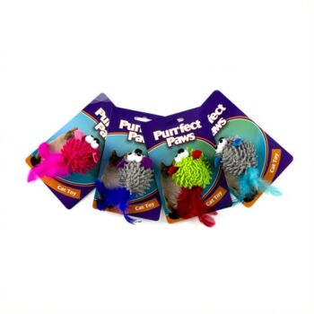 Cat Toy Mouse w Feather Tail 4 Asstd