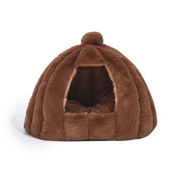 Comfy Cat Bed in Cat Dog Bedding Castle Igloo Nest Medium in Brown
