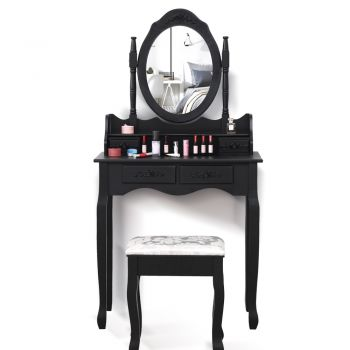 Levede Dressing Table and Stool Set with 1 Mirror and 4 Drawers in White Colour