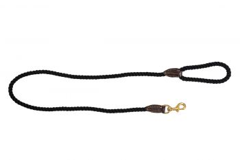 MOG AND BONE LEATHER BRASS ROPE LEAD BLACK 1.2M