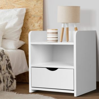 Bedside Tables Drawers Side Table Bedroom Furniture Nightstand White Unit