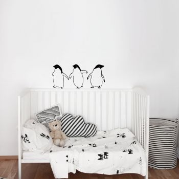 Three Little Penguins Wall Decal BLACK