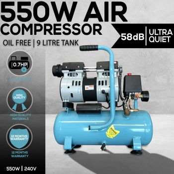 Electric Air Compressor Oil Free 9L Tank 0.7HP 40LMin 7Bar Direct Drive 550W