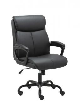 Puresoft PU Leather Soft Padded Mid-Back Office Chair - Black