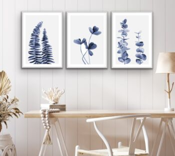 Hamptons Florals - Three Piece Blue Watercolour Original Hamptons Style Painting Set