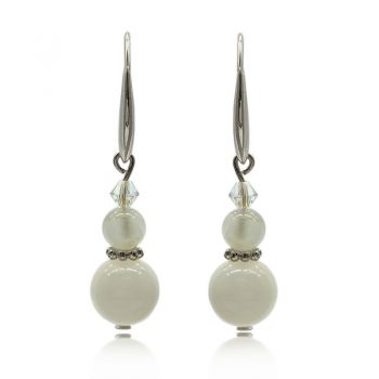 Natural Round Moonstone Gemstones Adorned with Swarovski® Crystal Beads Real Platinum Plated Earrings