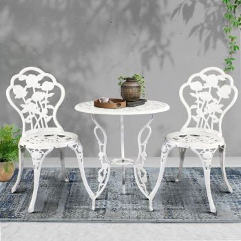 Outdoor Setting Dining Chairs Table 3 Piece Bistro Set Cast Aluminum Patio Garden Furniture Gardeon Rose White