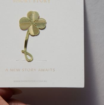 Gold Bookmarks Floral and Fauna 4 leaf clover