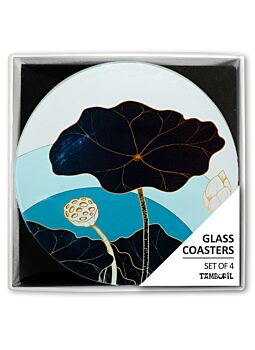 Coaster Golden Lilies Set Of 4|Beautifully Gift Boxed|Great gift idea