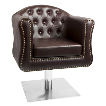 Glammar Manchester Styling Chair Brown Square Base