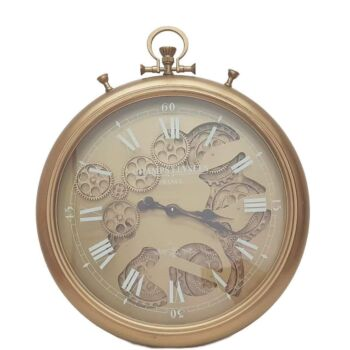 French Stopwatch Moving Cogs Wall Clock