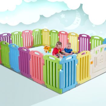 Cuddly Baby Playpen 23Panel Plastic Play Pen Interactive Kids Toddler Gate