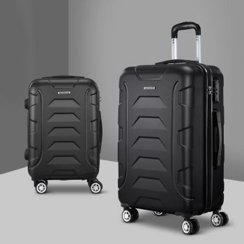 Wanderlite 2PCS Carry On Luggage Sets Suitcase TSA Travel Hard Case Lightweight Black