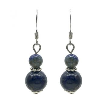 6-10mm Natural Round Lapis Lazuli Silver Plated Drop Earrings