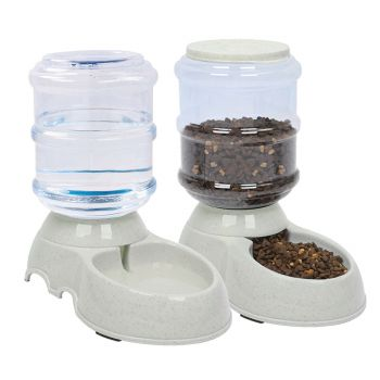 2 Pcs Automatic Pet Dog Cat Water Bowl Auto Food Feeder Bottle Dispenser Plastic