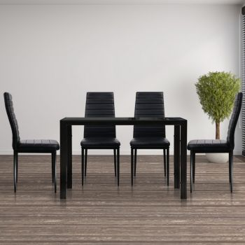 Astra 5pcs Dining Table and Chairs Dinner Set Glass Leather Kitchen Black