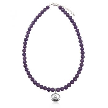 Amethyst Natural Gemstone & CZ Personalized Initial Letter Charm Stretch Beaded Necklace.