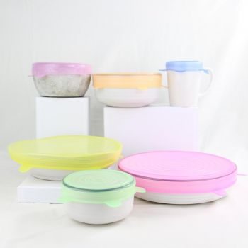 SILICONE FOOD COVERS   COLOURED   SET OF 6   REUSABLE