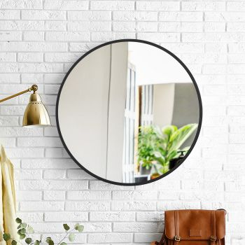 Wall Mirror Round Shaped Bathroom Makeup Mirrors Smooth Edge 80CM