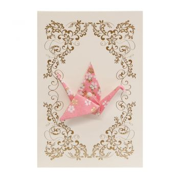 Small Card Crane Little Flowers Pink