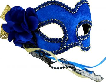 Masquerade Mask - Blue & Gold w/Flower