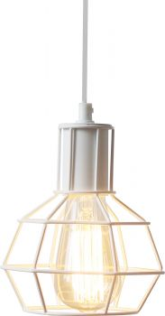 METAL PENDANT LAMP 15 X 21CM MATT WHITE