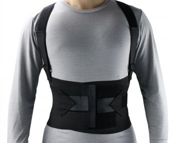 Industrial Back, Lumbar Abdominal Support Wrap Belt Brace with 4 Metal Stays Splints