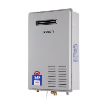 Devanti LPG Gas Water Heater 26L Home Instant Hot Outdoor Household White Grey