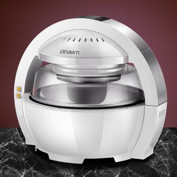 Devanti 1300W Air Fryer 13L Oven Cooker LCD Low Fat Oilless Healthy White