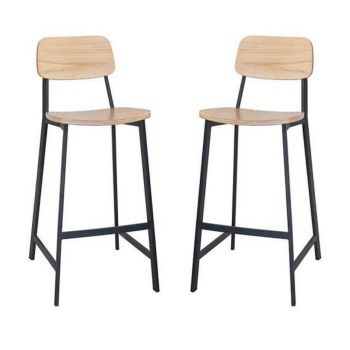 Set of 2 - Espriit Enfys Industrial Bar Stool 75cm - Black Frame - Natural Oak Back - Natural Veneer Seat