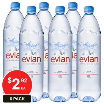 6 Pack, Evian 1.25l Natural Mineral Water