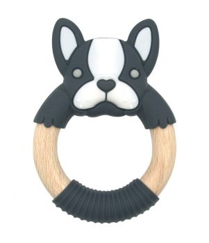 BibiBaby Teething Ring - Boxer Frenchie - Charcoal and White