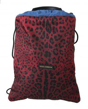 Dolce & Gabbana Red Leopard Adjustable Drawstring Women Nap Sack Bag