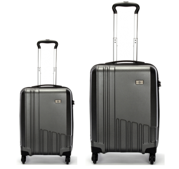 Swiss  Luggage Suitcase Lightweight with TSA locker 8 wheels 360 degree rolling HardCase 2 Pieces Set SN6612A&B-Black